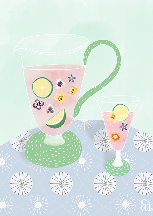 kitchen decor, art print, floral, food and drink