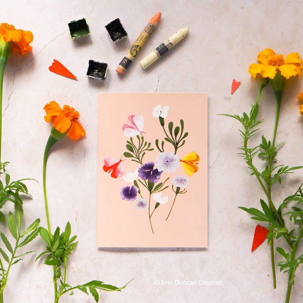 Wildflower greeting card, Erin Duncan Creative