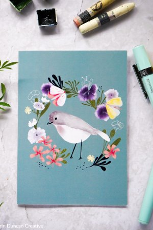 Bird and wildflower greeting card, Erin Duncan creative