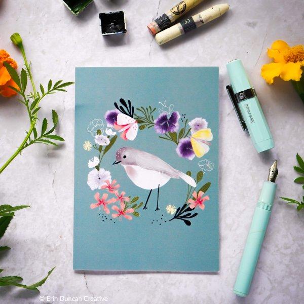 Bird and wildflower greeting card, Erin Duncan creative