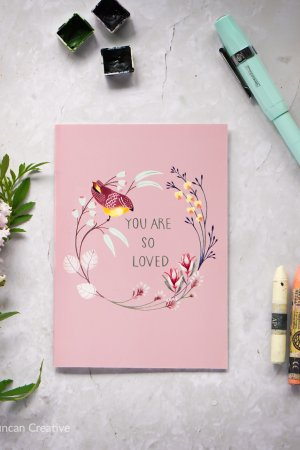 Thank you card, mothers day card, You are so loved, Erin Duncan creative