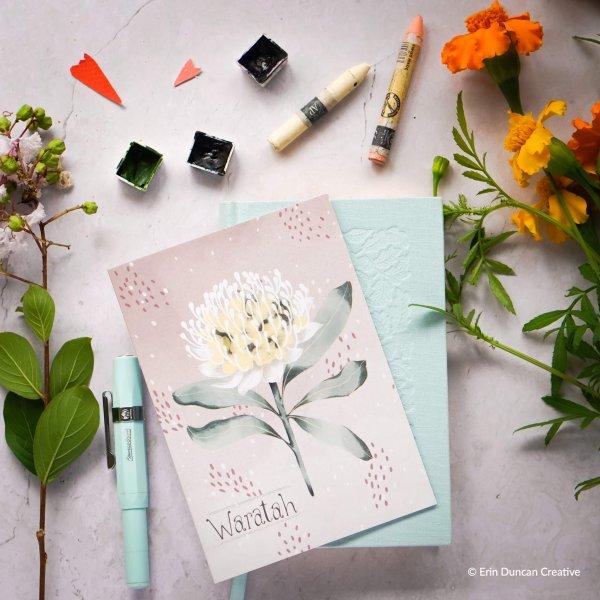 Warratah greeting Card, Erin Duncan creative,