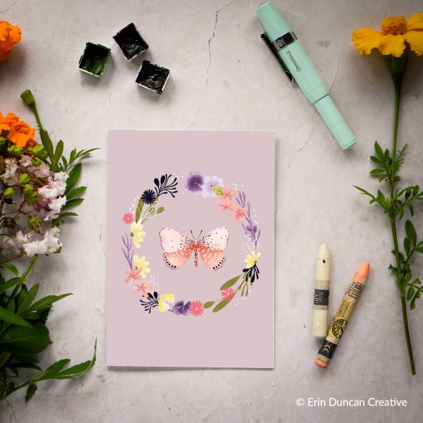Butterfly and Wildflowers Greeting Card, Erin Duncan Creative