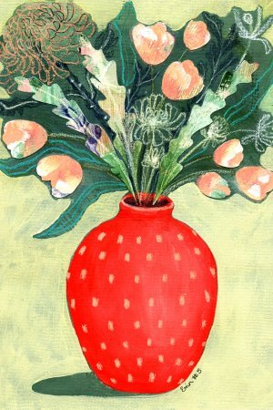 Red Vase, 100 Bad Paintings, Erin Duncan Creative