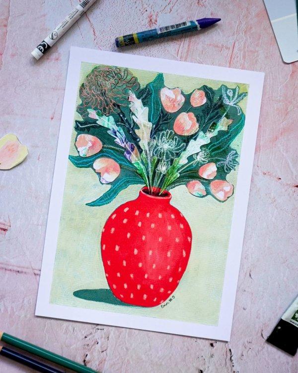 Red Vase, Erin Duncan Creative, 100 Bad Paintings
