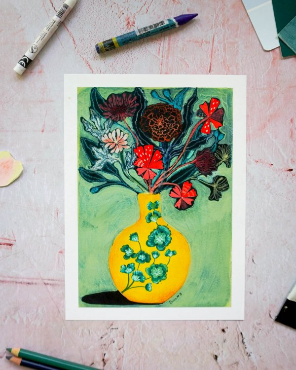 Yellow Vase, Erin Duncan Creative, 100 Bad Paintings