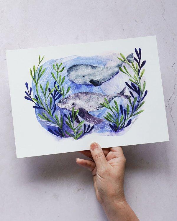Whales, Art Print, Ocean Art Print, Erin Duncan Creative