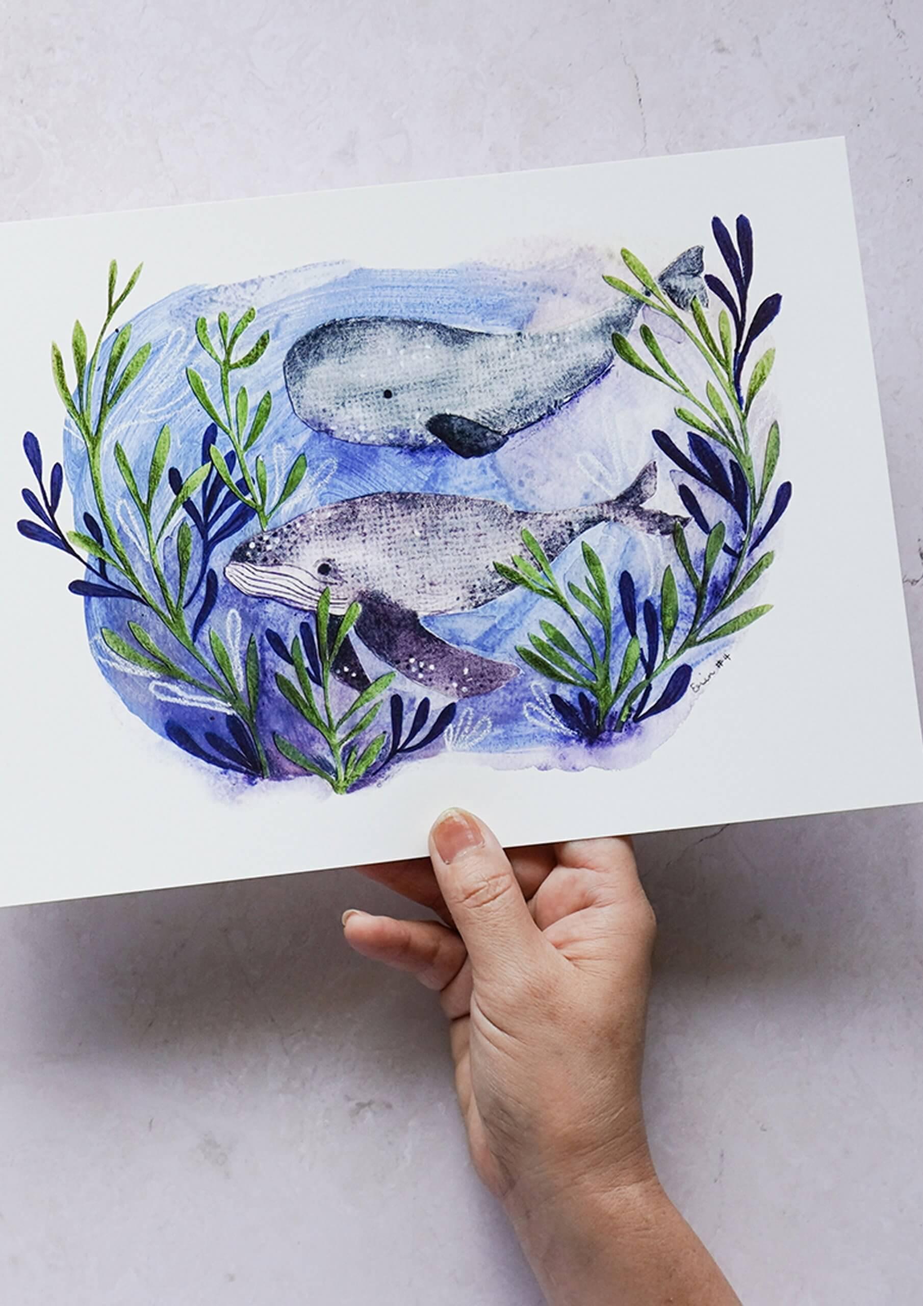 Whales At Play Art Print, Erin Duncan Creative
